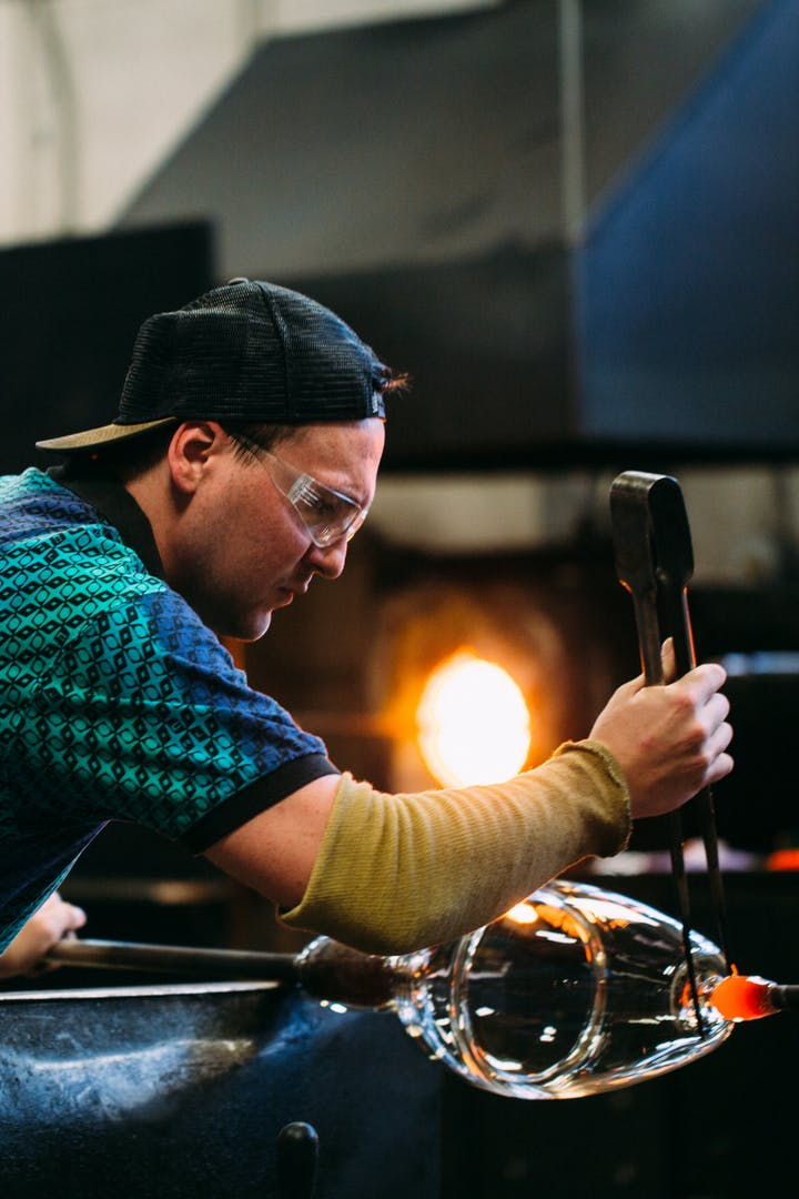 Glassblowing in the Hennepin Made Hot Shop