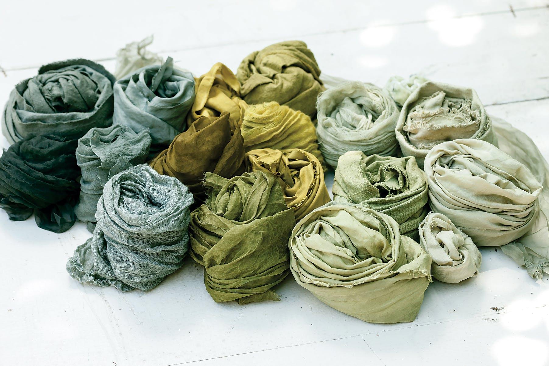 Various fabrics dyed by Sasha Duerr