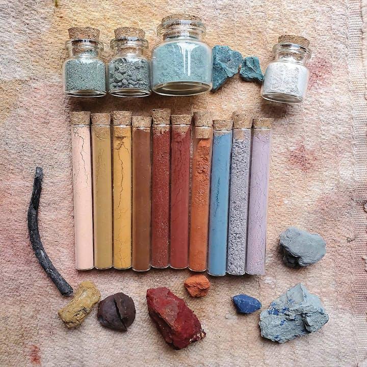 Various ochre samples in vials