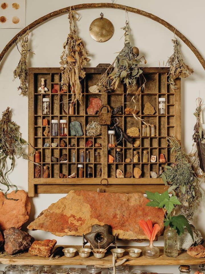 Ochre display in Heidi Gustafson's rock den