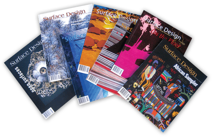 Spread of issues of Surface Design Journal edited by Patricia Malarcher