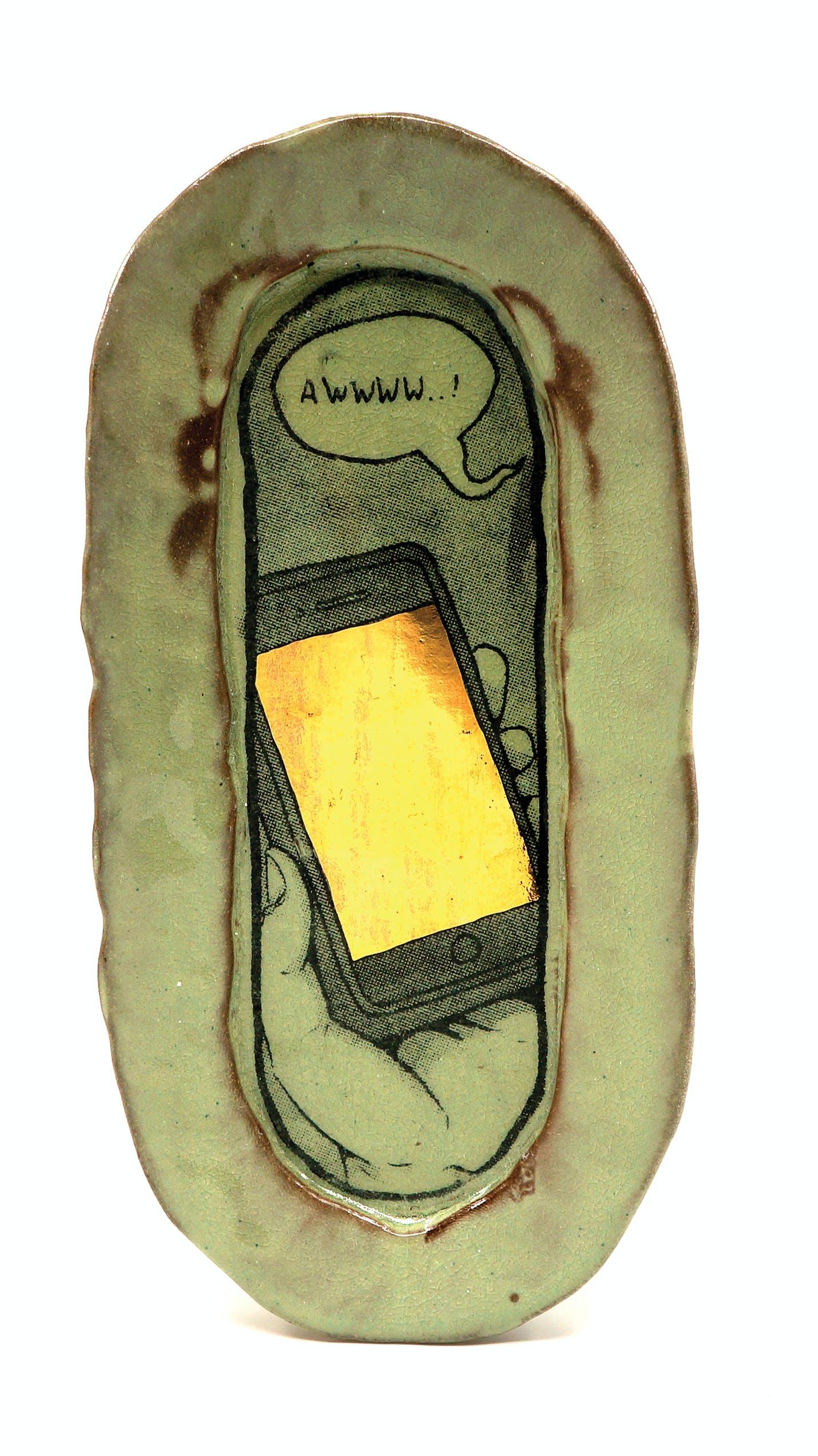 Ian Petrie Luster Cell Phone Hotdog Plate