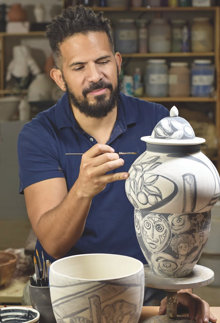 Ceramist Wayne Perry working on 2020 Urn