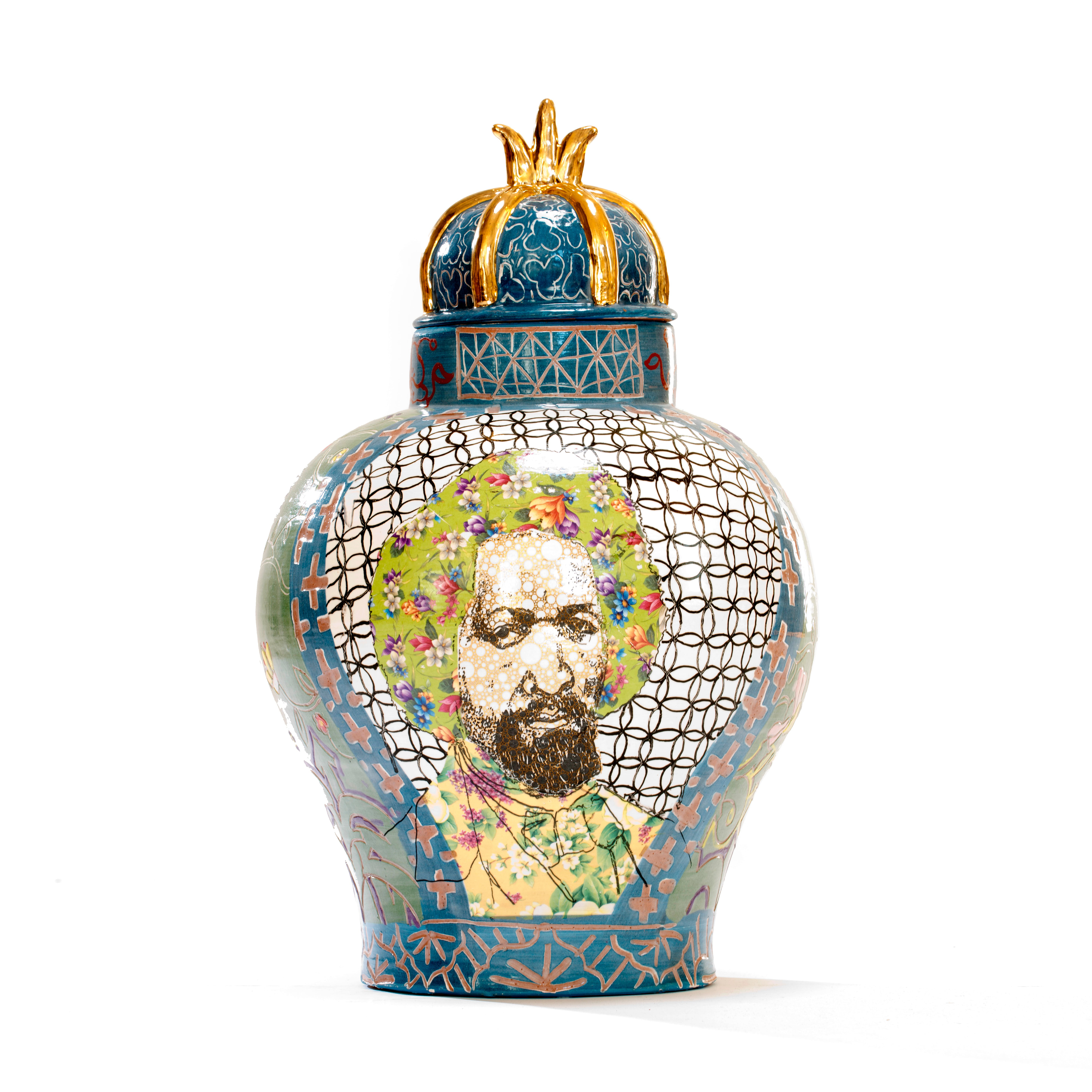 Colorful ceramic urn with face of Frederick Douglass