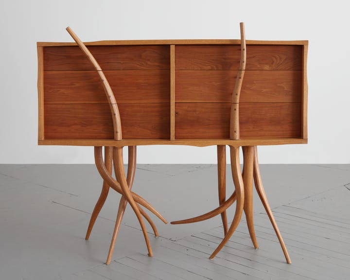 Wooden chest with drawers and legs like branches