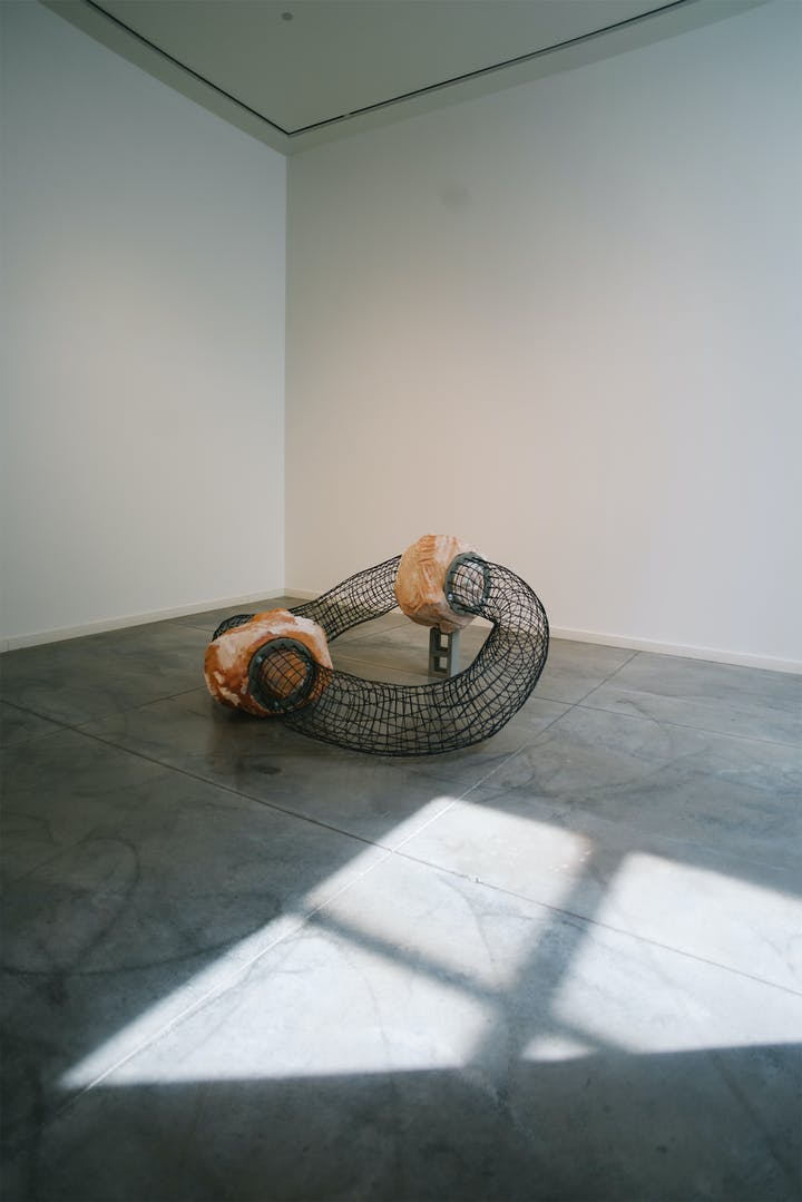 Large art sculpture with two boulders connected by woven tubes