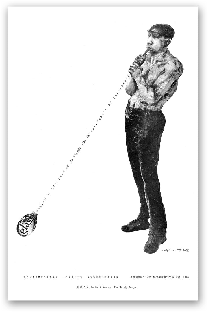 Mostly white poster with image of person blowing glass