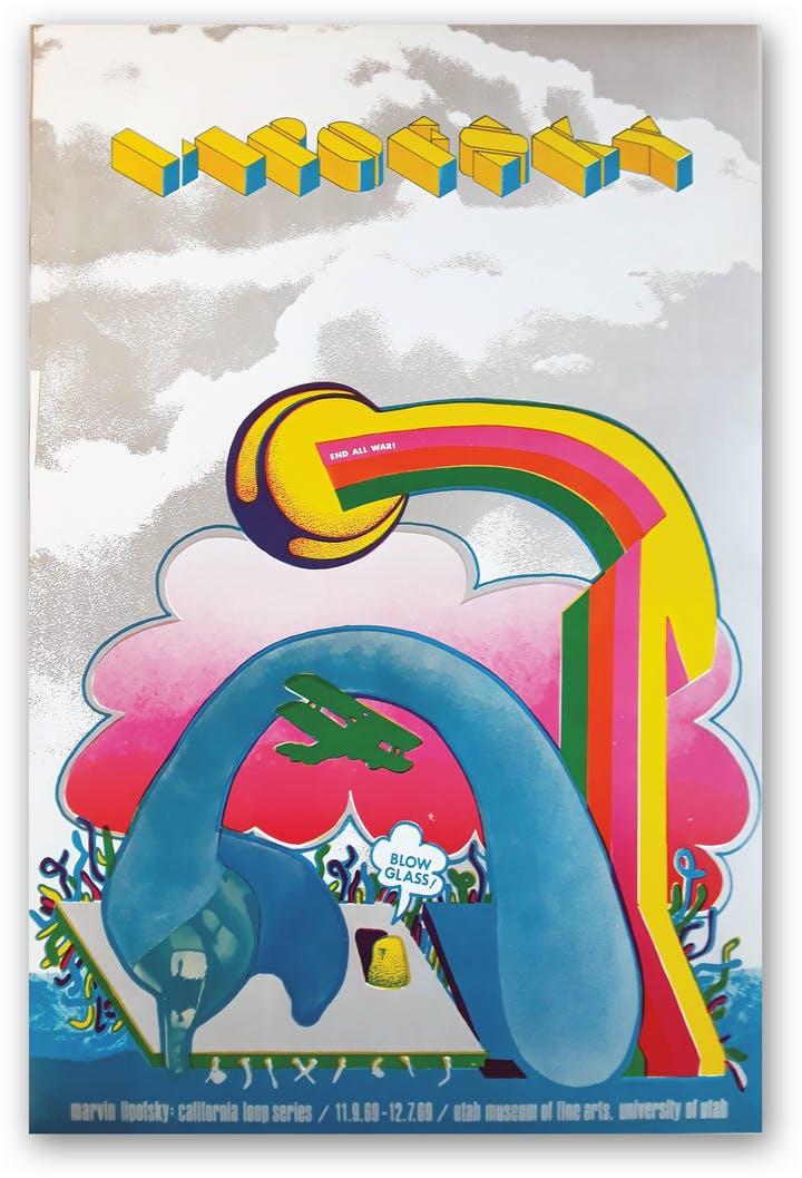 Colorful poster with rainbow and clouds that says Lipofsky on top