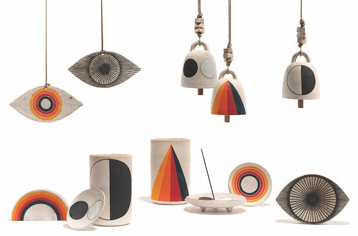 Various ceramic work by Michele Quan inspired by Hilma af Klint