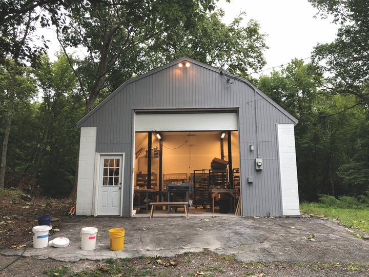 View of the outside of a studio in shed