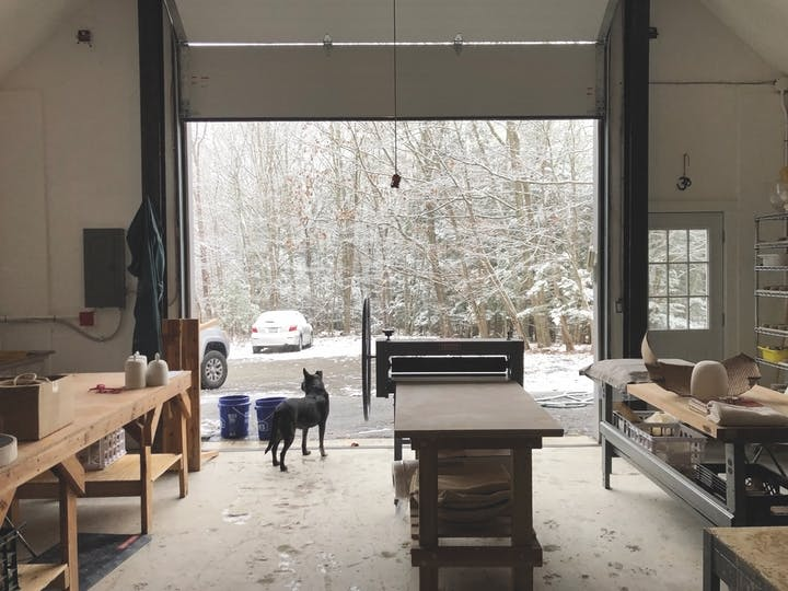View from the inside of a studio in a shed