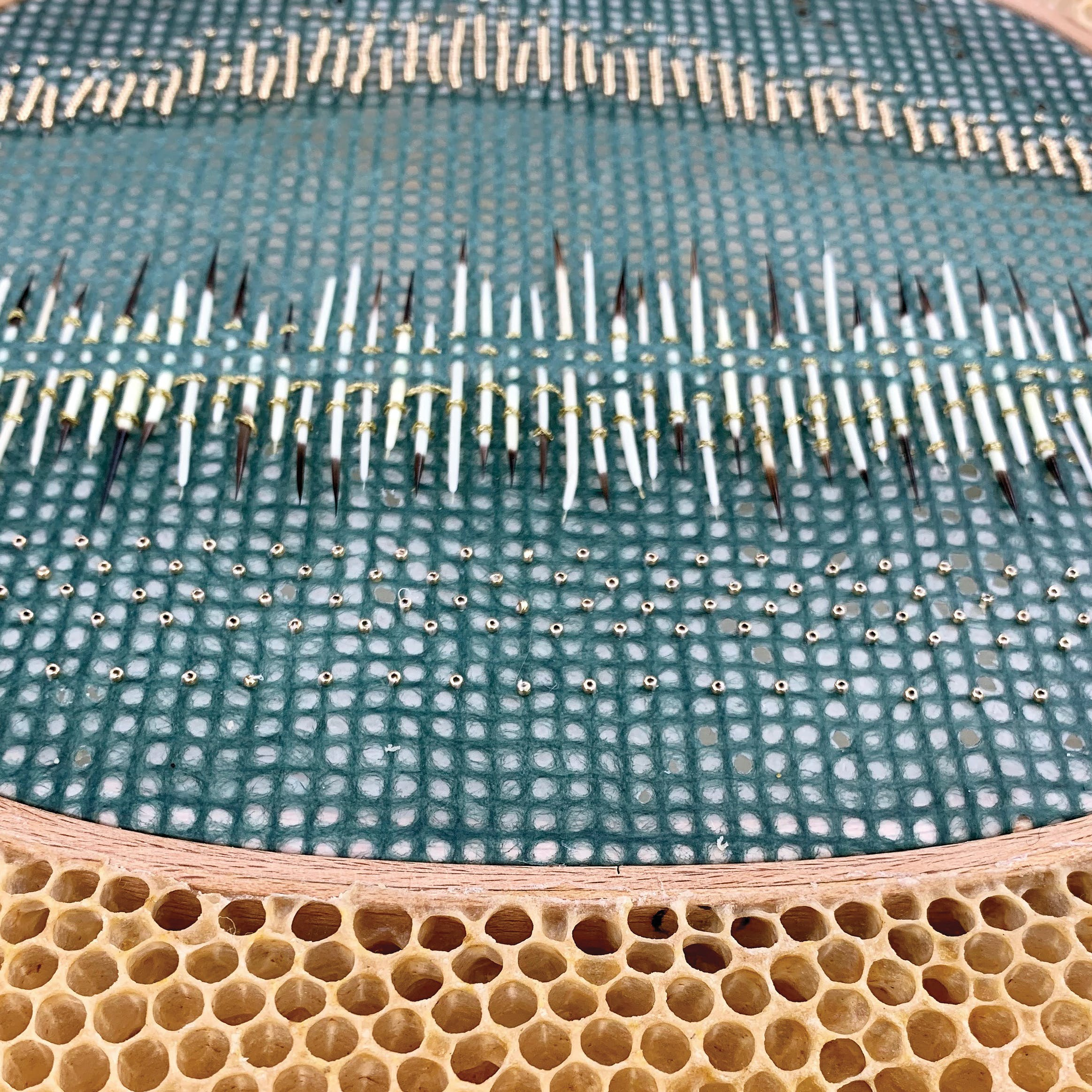 Embroidery hoop with blue fiber and beads embedded in honeycomb with bees