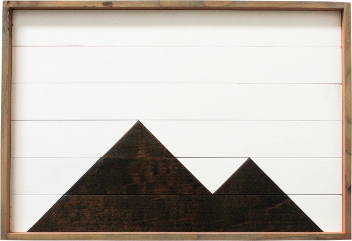 Rectangular tray made with reclaimed planks with simple black and white stained mountain pattern