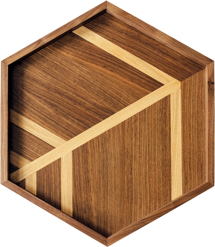 Hexagonal tray with two-tone geometric wood pattern