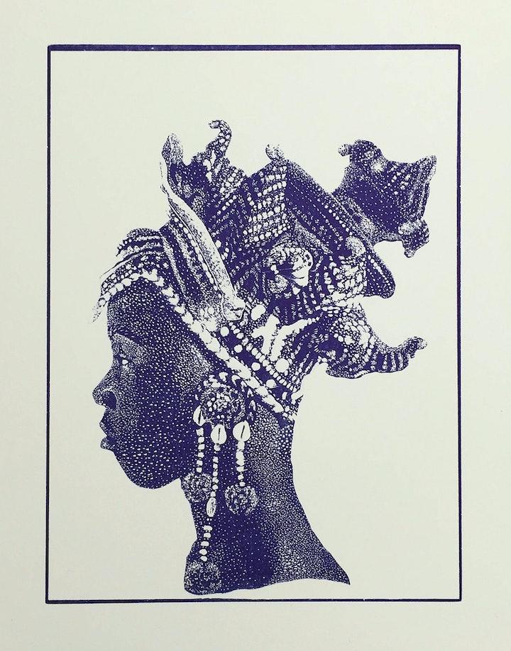 Monotone print of person wearing ornamental crocheted headpiece