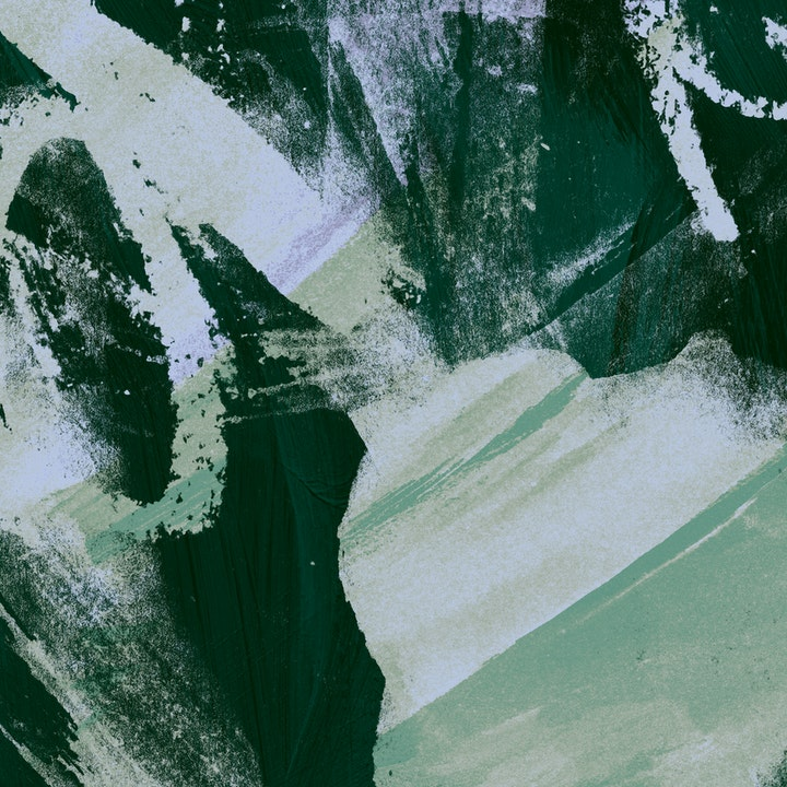 Dark forest green wallpaper sample with large blotchy pale green brush strokes