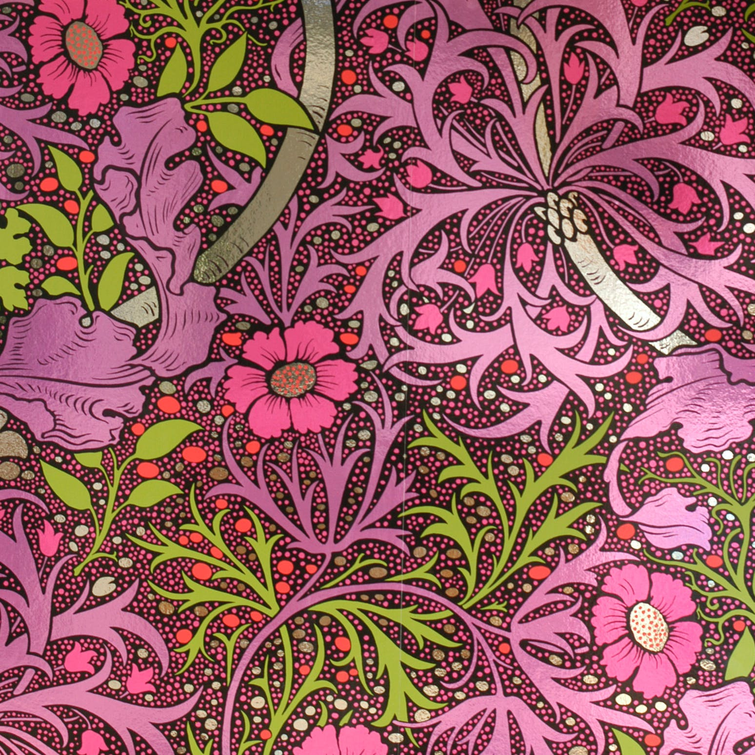 Bright pink and green floral wallpaper sample with slight reflective sheen