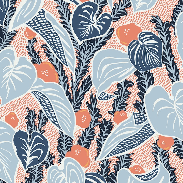 five-color printed wallpaper sample with navy blues and coral oranges in a leaf pattern