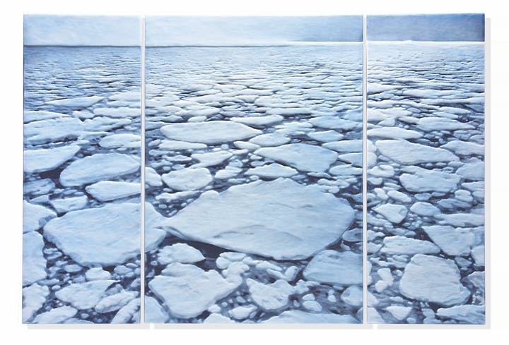 Triptych showing arctic ice breaking up