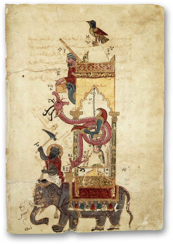 antique illustration of a sculptural clock on an elaphants back by ismail al jazari