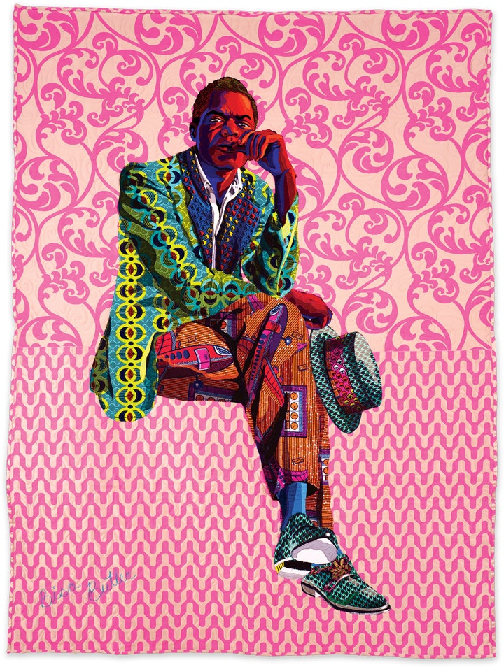 portrait of a seated man gazing at the viewer in the form of a colorful and richly patterned quilt