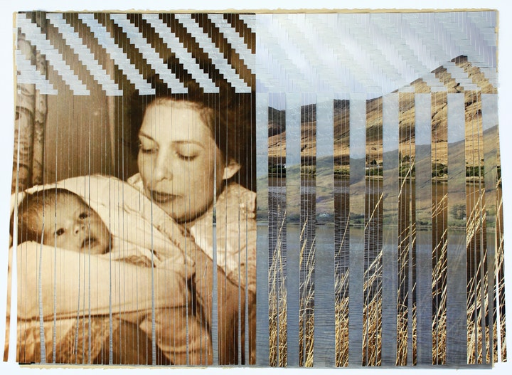 woven collage featuring an vintage photo of a mother and baby and landscape photos of ireland