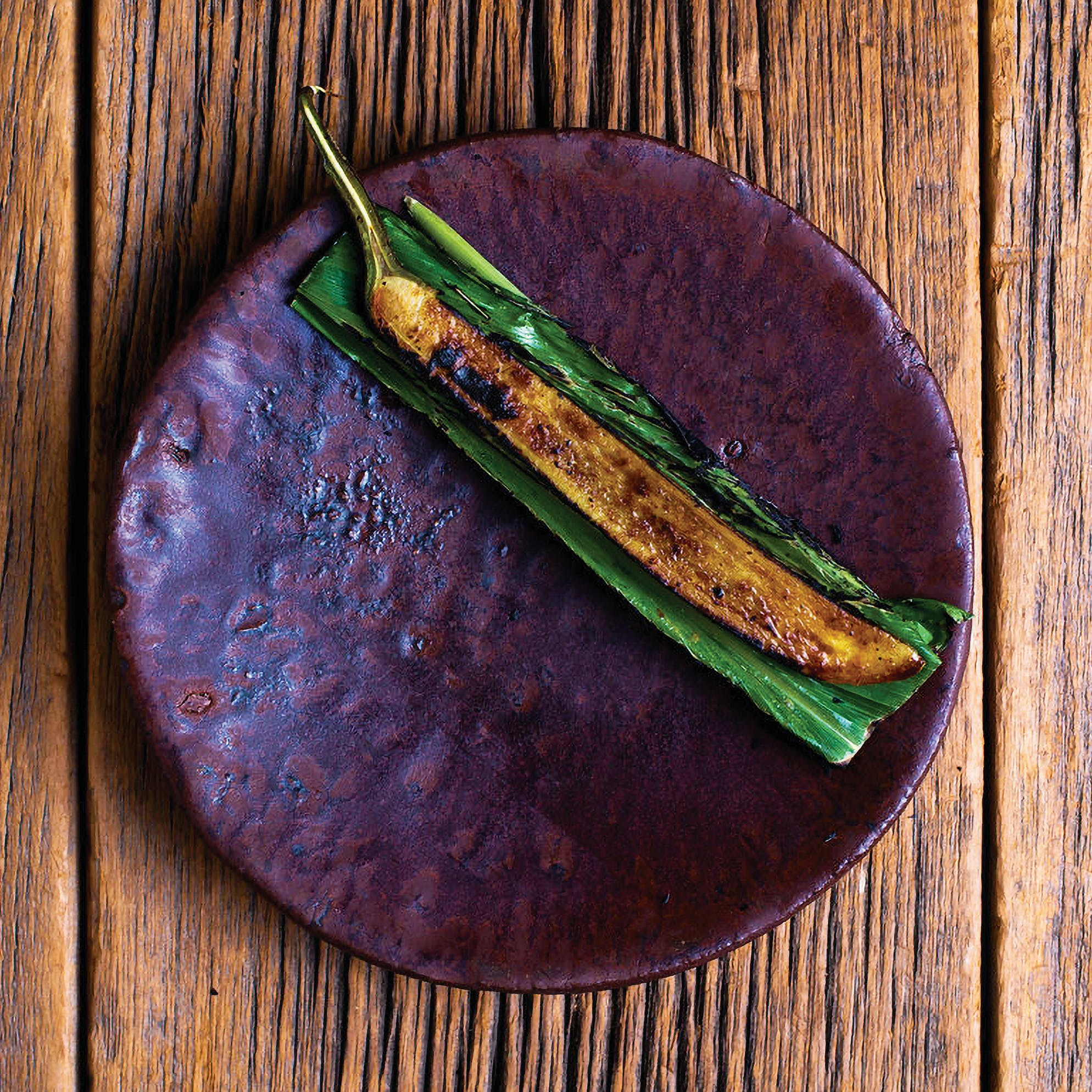 mottled purple ceramic plate with a charred thin eggplant on a folded leaf
