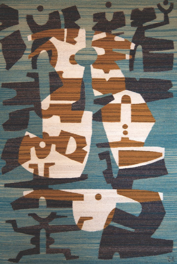 teal navy umber and cream weaving of various pictographic symbols floating in orground and background