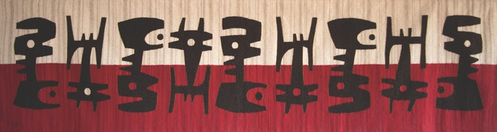 narrow horizontal weaving with row of intricate black symbols over hald red and half cream background