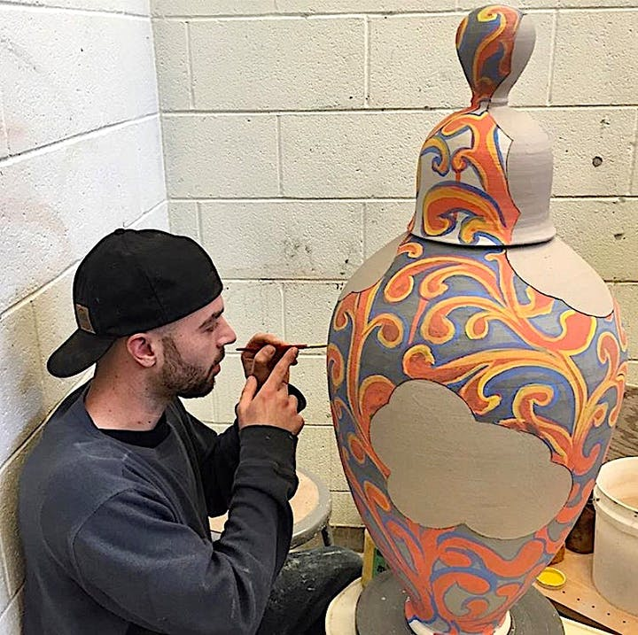 Justin Gerace at work in his studio