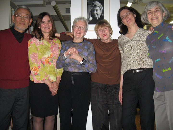 Lois Moran with her magazine staff at her retirement party at the ACC office in New York in December 2006