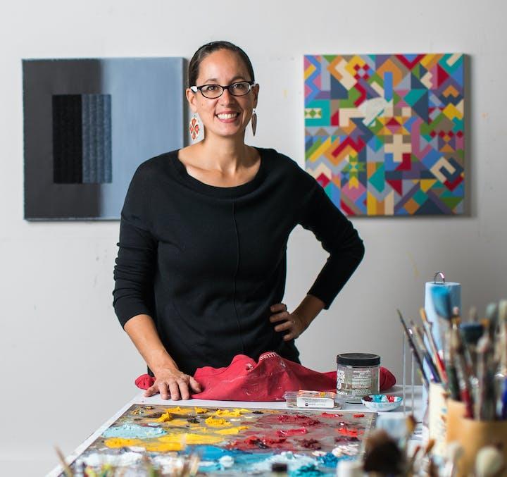 Portrait of Dyani White Hawk in studio