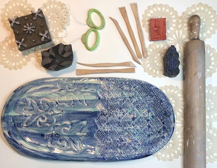 Overhead shot of ceramics tools and materials