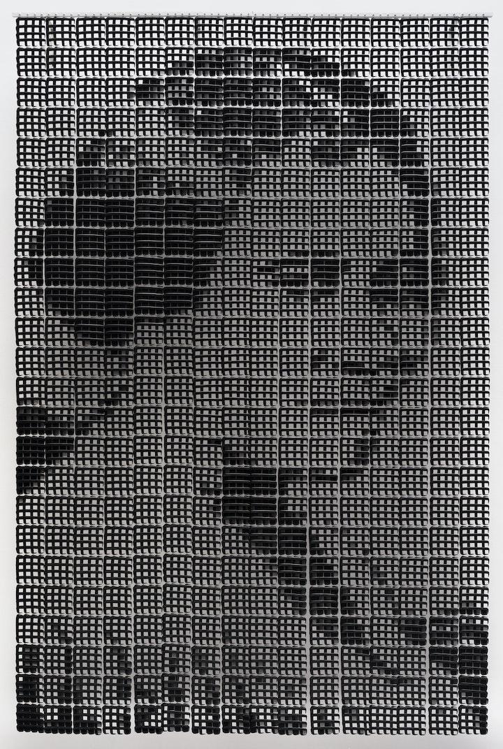 Portrait of Madam CJ Walker made from black combs