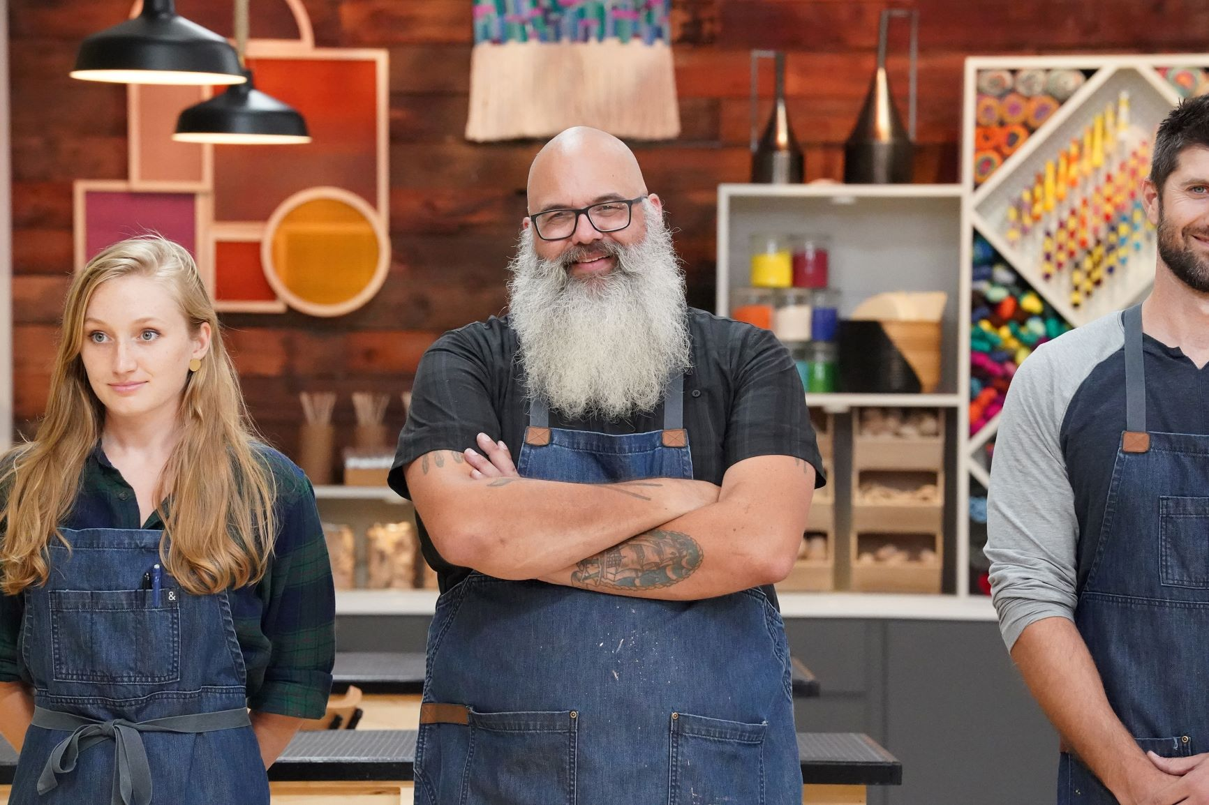 Three contestants on the set of Making It season three
