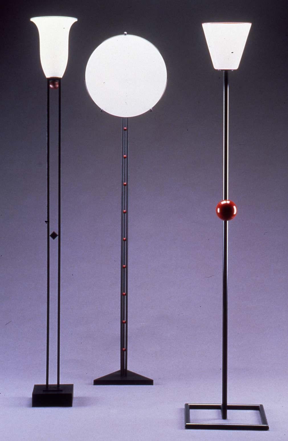 Series of handmade metal and glass floor lamps