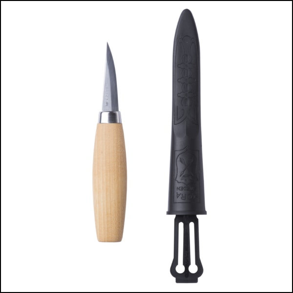Woodcarving knife with natural wood handle sheath