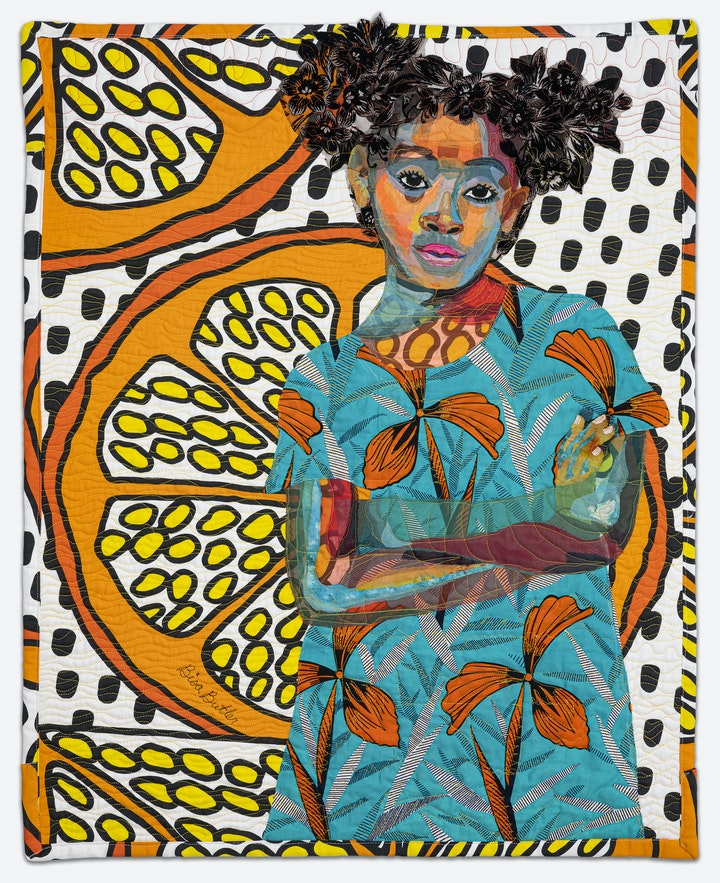quilt depicting a girl posing in teal and orange floral shirt over backdrop of orange slices
