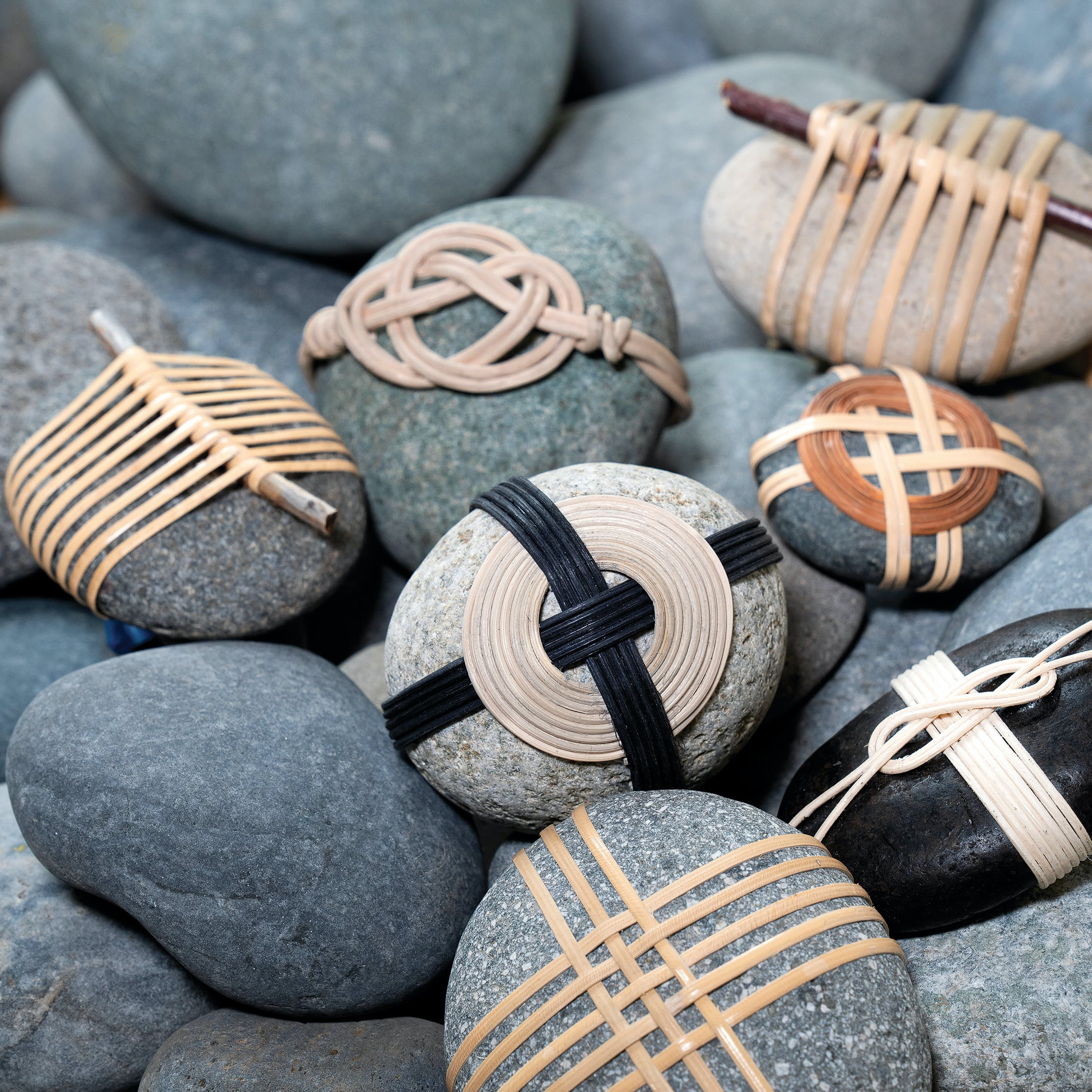 Wrapped rocks by Betsy Bauer