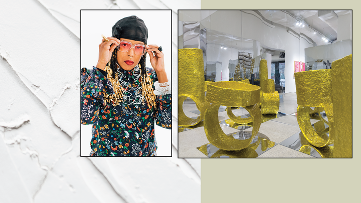 banner graphic with light olive green and white plaster background with photos of artist in floral shirt gold jewelry and pink sunglasses and an art installation with large gold jewelry shaped sculptures