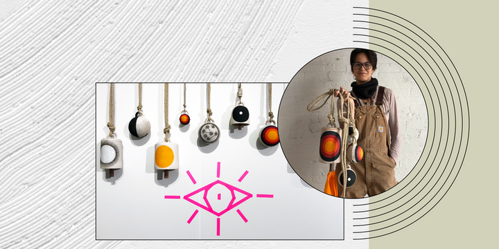 Graphic with photo of hanging ceramic art and pink eye symbol on wall plus photo of artist holding similar ceramic pieces