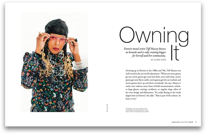 Spread from the Summer 2021 issue of American Craft magazine