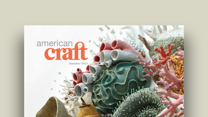 Cover graphic featuring the cover of the Summer 2021 issue of American Craft