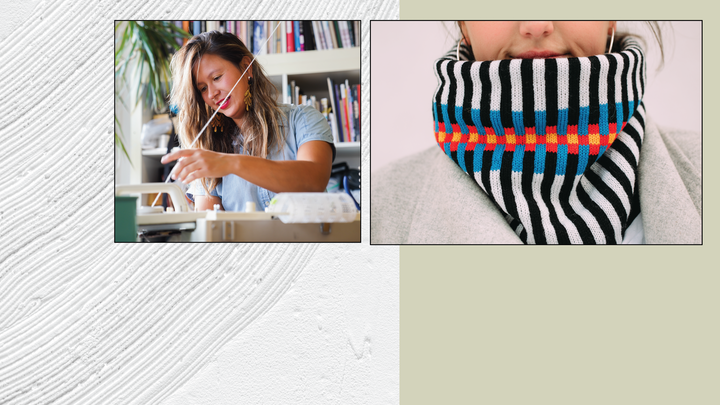 Page cover graphic with photos of an artist working at a loom and a model wearing a colorful woven cawl