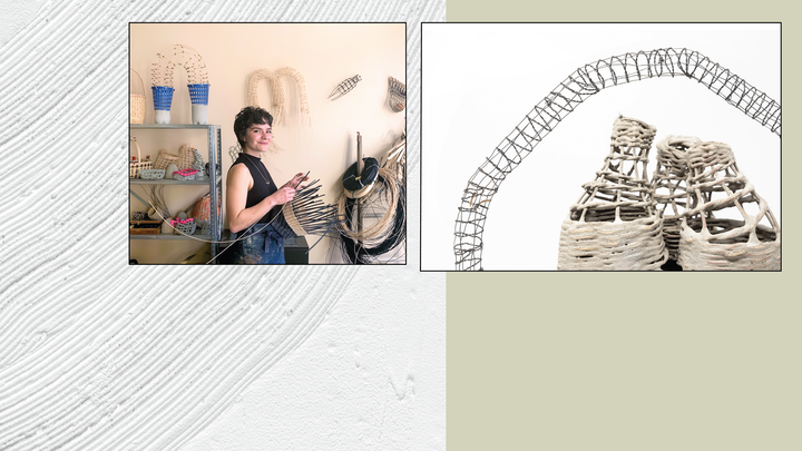 Page cover graphic with with artist in studio and sculptural basketry work