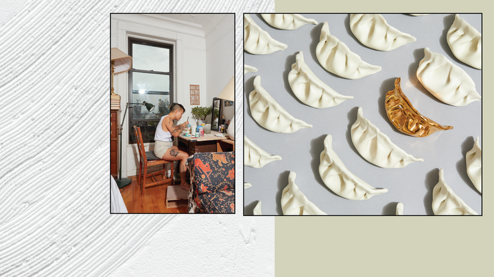 Page cover graphic with artist at work and array of porcelain dumplings and one gold one