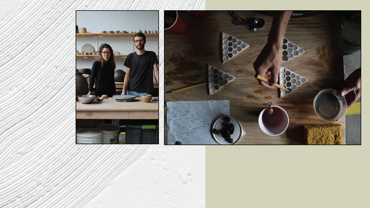 Page cover graphic with artists in studio and glaze samples