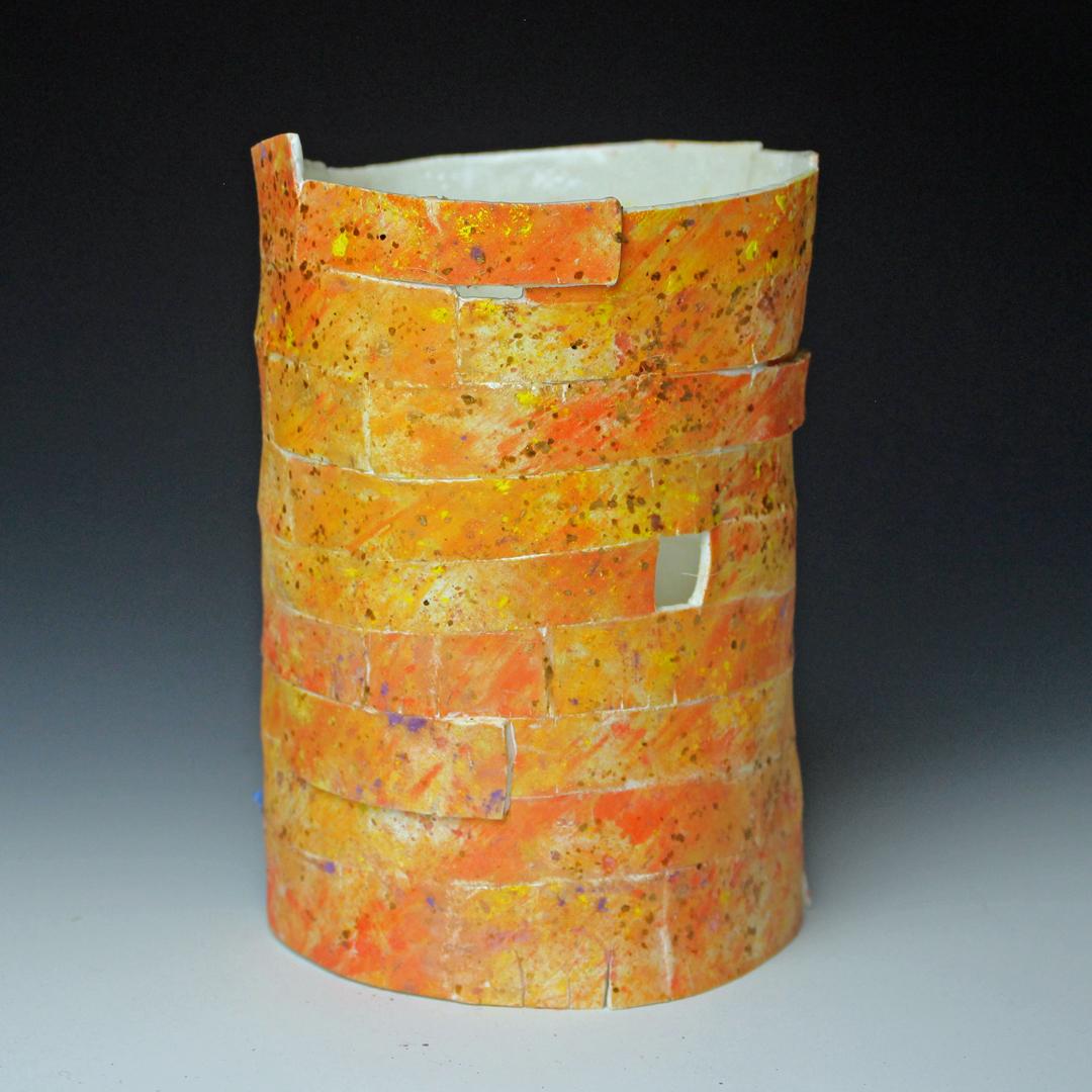 orange ceramic vessel