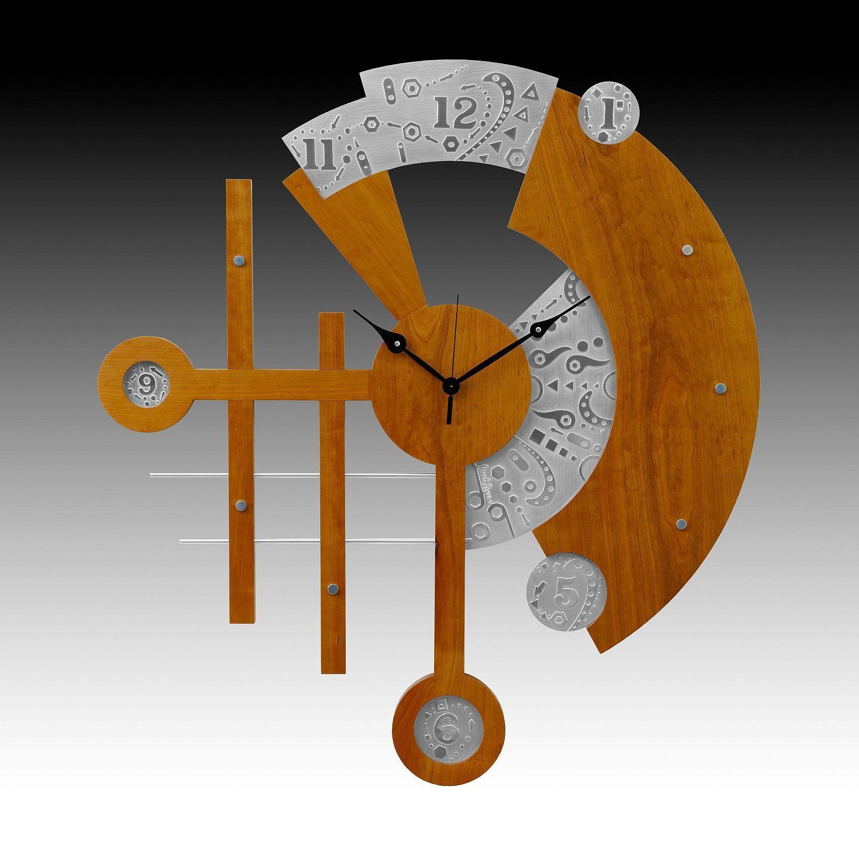 ornate orange stylized wooden clock